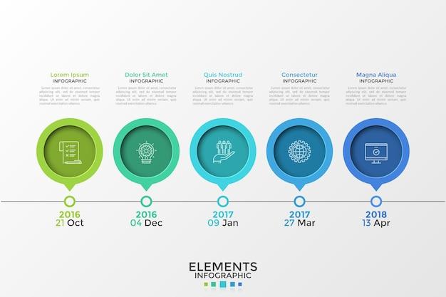 Chronologie horizontale avec 5 éléments de pointeur ou de marqueur rond, des symboles de ligne fine, des lettres et un emplacement pour le texte. modèle de conception infographique simple. illustration vectorielle pour présentation, brochure.