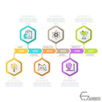 Chronologie horizontale, hexagones avec des icônes de fine ligne