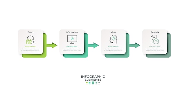 Chronologie horizontale avec quatre carrés de papier blanc ou des cartes reliées par des flèches de couleur dégradée. disposition de conception infographique. illustration vectorielle pour la visualisation du processus de réalisation des objectifs en 4 étapes.