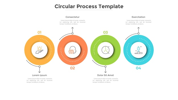 Chronologie horizontale avec quatre éléments circulaires colorés. modèle de conception infographique créatif. concept de 4 étapes stratégiques du processus de développement de démarrage. illustration vectorielle plane pour la barre de progression.