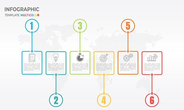 Chronologie de l'infographie 6 options. style de ligne mince.
