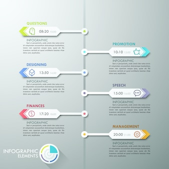 Chronologie d'infographie moderne avec des flèches de papier