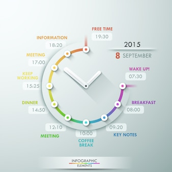 Chronologie d'infographie moderne avec horloge créative