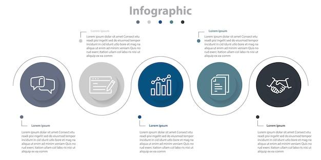 Chronologie infographique abstrait coloré, infographie 5 étapes