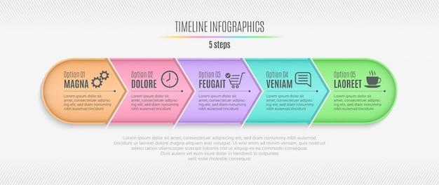 Chronologie infographique en cinq étapes, présentation, rapport, conception web
