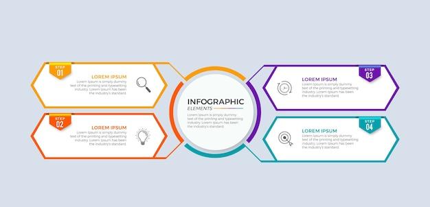 Chronologie infographique avec design plat en 4 étapes