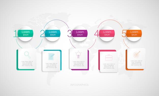 Chronologie infographique, illustration pour les entreprises et démarrage avec séquence, options ou étapes