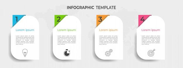 Chronologie infographique moderne avec options ou étape.