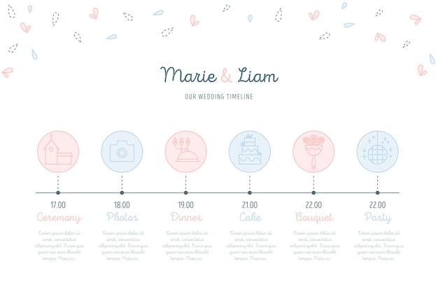 Chronologie de mariage dans un style linéaire