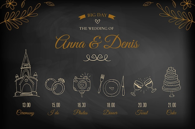 Chronologie de mariage élégant dessinés à la main