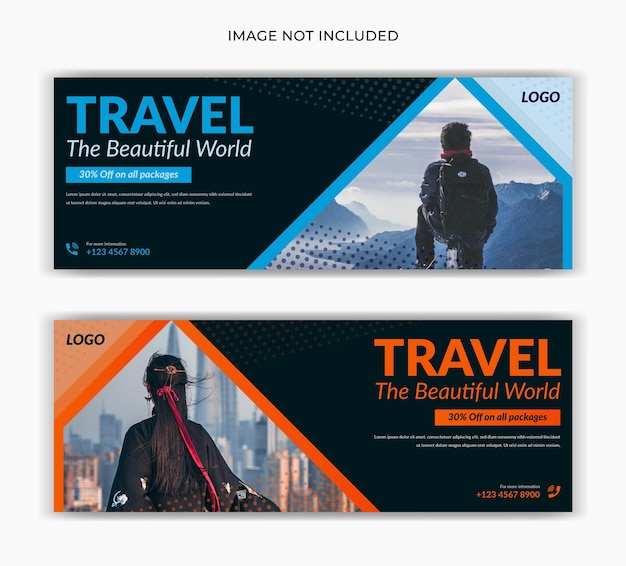 Chronologie de la page de couverture facebook de publication de médias sociaux de voyage