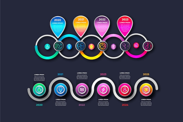 Chronologie réaliste brillant infographique