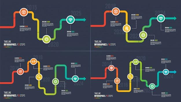 Chronologie en trois étapes ou graphiques infographiques jalons.