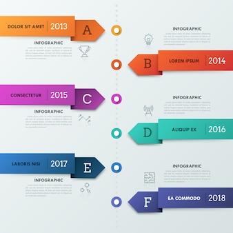 Chronologie verticale avec 6 rayures en forme de flèche, icônes de fine ligne, lettres, indication de l'année et zones de texte.