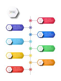 Chronologie verticale infographique avec des éléments hexagonaux sur fond blanc. visualisation de processus métier moderne avec des icônes de ligne marketing. modèle d'illustration facile à modifier et à personnaliser