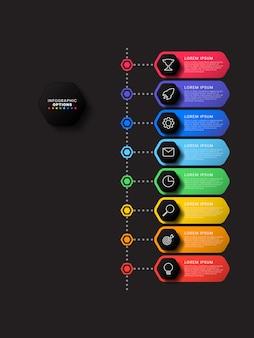 Chronologie verticale infographique avec des éléments hexagonaux sur fond noir. visualisation de processus métier moderne avec des icônes de ligne marketing.