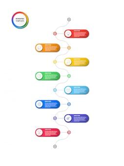 Chronologie verticale infographique avec des éléments ronds sur fond blanc. visualisation de processus métier moderne avec des icônes de ligne marketing.