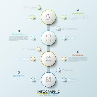 Chronologie verticale avec quatre éléments ronds blancs, indication de la date et de l'heure, icônes de fine ligne et zones de texte. concept d'arborescence pour une planification efficace.