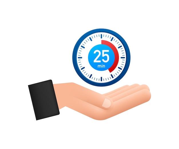 Le chronomètre de 25 minutes avec l'icône des mains icône du chronomètre dans un style plat