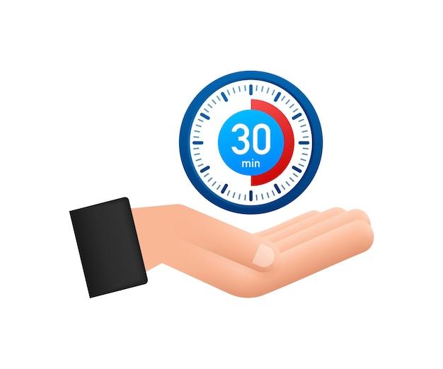 Le chronomètre de 30 minutes avec l'icône des mains icône du chronomètre dans la minuterie de style plat