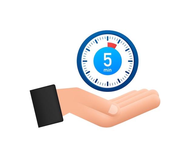 Le chronomètre de 5 minutes avec l'icône des mains icône du chronomètre dans la minuterie de style plat