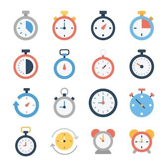 Chronomètre et icônes d'horloge numérique