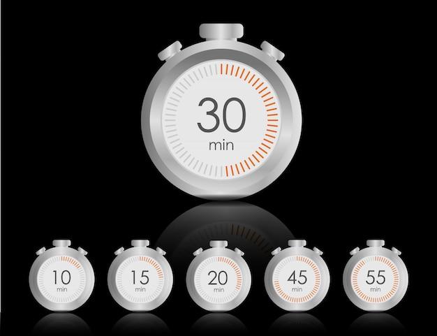 Chronomètre métallique, vue avant du gros plan du chronomètre, concept de temps. minuteur.