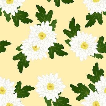 Chrysanthème blanc sur fond jaune ivoire