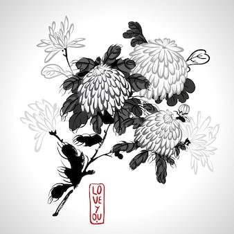 Chrysanthème fleurissant de vecteur dans le style chinois