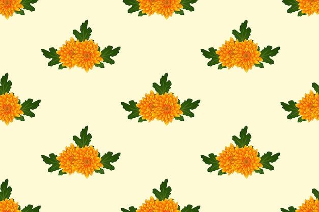 Chrysanthème jaune sur fond beige ivoire