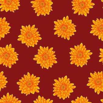 Chrysanthème jaune sur fond rouge
