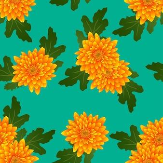 Chrysanthème jaune sur fond vert sarcelle