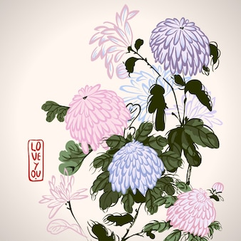 Chrysanthème rose en fleurs de style chinois