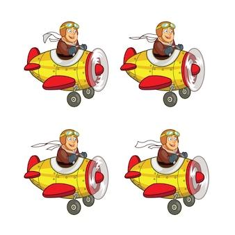 Chubby pilot volant air plane dessin animé jeu personnage animation sprite