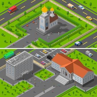 Church state edifice isometric 2 banners