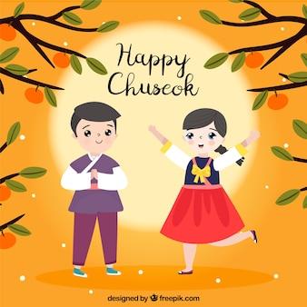 Chuseok composition avec un couple heureux