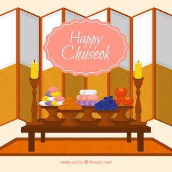 Chuseok composition avec un design plat