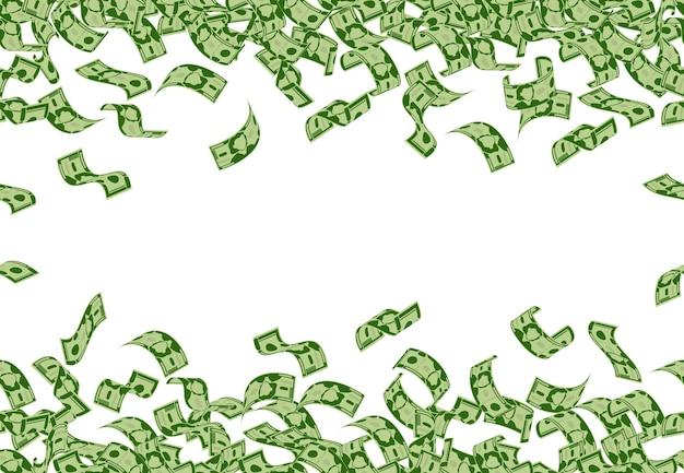 Chute De L'argent Modèle Billets En Dollars Battant Modèle Sans Couture Argent Comptant Factures Pluie Tombant Dollars Factures Fond Vecteur Premium