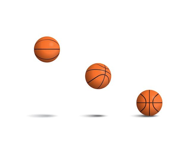 Chute de ballons de basket dans différentes positions définies.