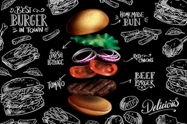 Chute de burger réaliste sur fond de tableau