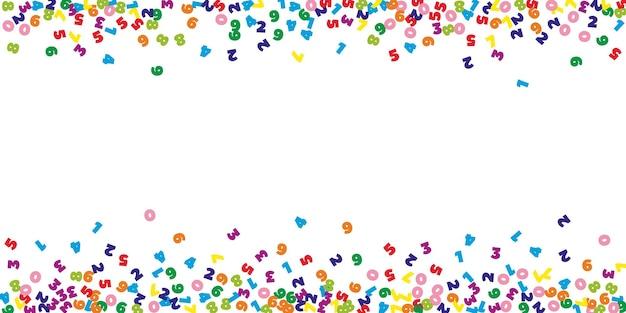 Chute de chiffres colorés. concept d'étude de mathématiques avec des chiffres volants. majestueuse bannière de mathématiques de retour à l'école sur fond blanc. chiffres en baisse illustration vectorielle.