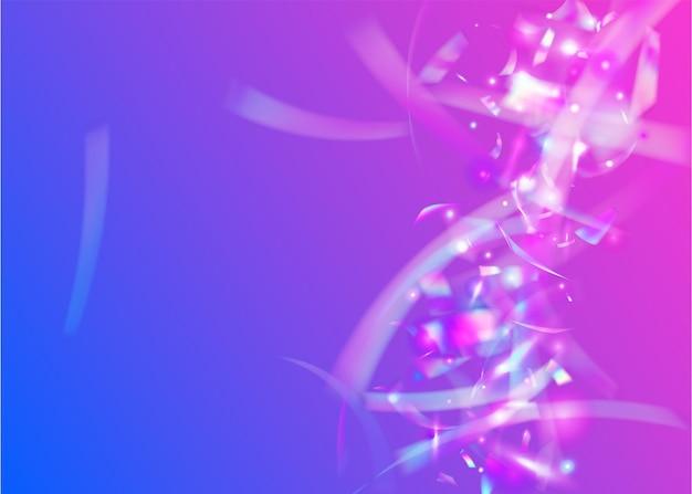 Chute de confettis. flou dégradé prismatique. effet carnaval. art glamour. texture laser rose. feuille de vacances. élément rétro. éblouissement d'hologramme. confettis tombant violet