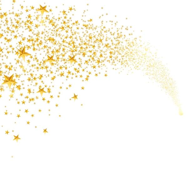 Chute d'étoiles dorées, poussière. étoile filante avec sentier arrondi isolé