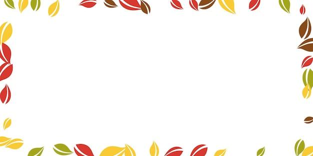 Chute des feuilles d'automne. feuilles chaotiques rouges, jaunes, vertes, brunes volantes. cadre feuillage coloré sur joli fond blanc. belle vente de rentrée.