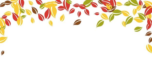 Chute des feuilles d'automne. feuilles chaotiques rouges, jaunes, vertes, brunes volantes. feuillage coloré de pluie tombante sur fond blanc indélébile. belle vente de rentrée.