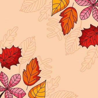 Chute de feuilles en automne fond
