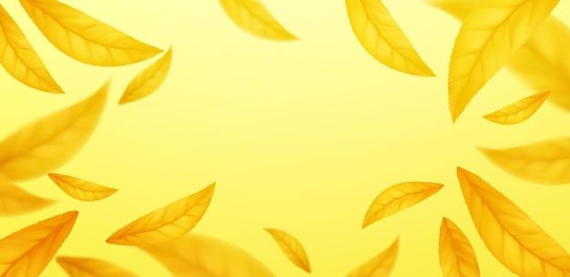 Chute de fond de feuilles d'automne volantes. feuille jaune d'automne réaliste isolée sur fond jaune. fond de vente d'automne. illustration vectorielle