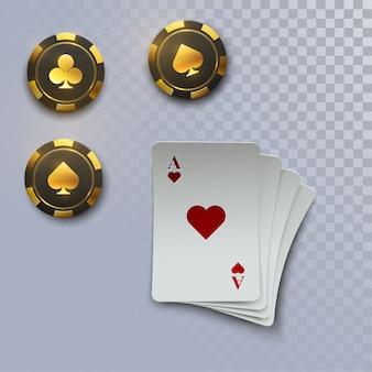 Chute de jetons de casino et d'as avec des éléments flous, illustration, isolé sur blanc