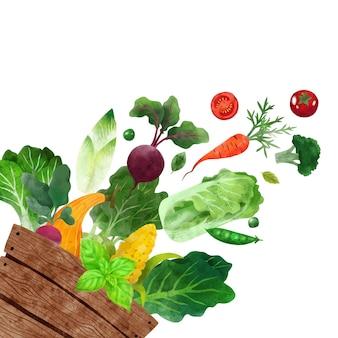 Chute de légumes illustration aquarelle vectorielle dessinés à la main