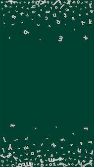 Chute des lettres de la langue anglaise. esquissez les mots volants à la craie de l'alphabet latin. concept d'étude des langues étrangères. bannière originale de retour à l'école sur fond de tableau noir.